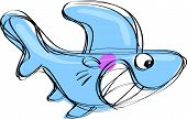 Cartoon Baby Shark In A Naif Childish Drawing Style