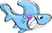 Cartoon Baby Shark In A Naif Childish Drawing Style