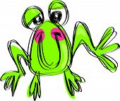 Cartoon Baby Smiling Frog In A Naif Childish Drawing Style