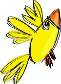 Cartoon Baby Yellow Bird In A Naif Childish Drawing Style