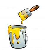 Cartoon Yellow Color Paint In A Paint Bucket Painting With Paint Brush