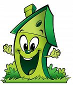 Happy Cartoon Green Ecological Home