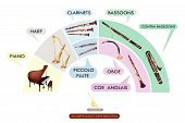 picture of piccolo  - Illustration Collection of Musical Instrument for Symphony Orchestra Piano Harp Clarinet Bassoon Contra Bassoon Piccolo Flute Oboe and Cor Anglais - JPG