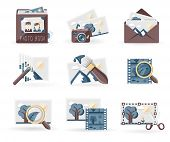 Photo Book icons set, retro style