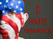 Man Face Flag Usa, I Hate Weapons, Sad Expression