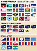 Set of Flags of North America sovereign states (June 2013). Included flags of Bajo Nuevo Bank, Aruba