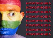 Gay Flag Face Man, Homophobia Concept