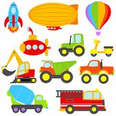 stock photo of scooter  - Cute Colorful Vector Transportation and Construction Set - JPG