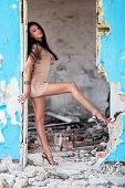 Beautiful Woman In Ruined Building