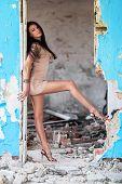 Beautiful Woman In Ruined Building