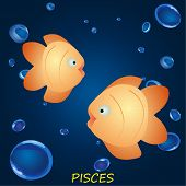Astrological symbol of fish or pisces in the dark blue water