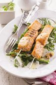 grilled salmon skew with rocket salad