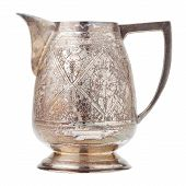 Retro Silver Creamer, Vintage Milk Jug, Isolated On White