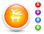 Pommel Horse Icons on Round Button Collection Original Illustration
