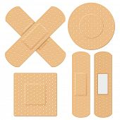 image of emergency treatment  - illustration of medical bandage in different shape - JPG