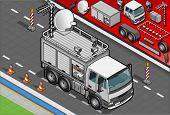 Isometric Broadcast Tv Truck In Front View