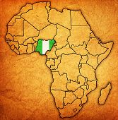 foto of nigeria  - nigeria on actual vintage political map of africa with flags - JPG