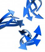 Blue  arrows on white background isolated