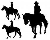 stock photo of saddle-horse  - cowgirl riding horse silhouettes - JPG
