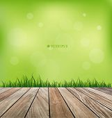 Natural background. Fresh spring green grass and wood floor. Vector illustration.