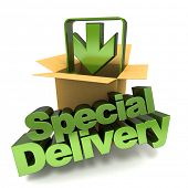 3D rendering of a special delivery concept sign