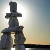 Inukshuk Landmark At Dusk