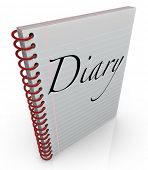 A spiral bound notebook of lined paper with the word Diary on the cover to contain memories, thought