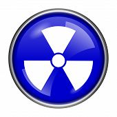 stock photo of radium  - Round glossy icon with white design on blue background - JPG