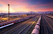 stock photo of railroad yard  - Cargo freight train railroad station at dusk