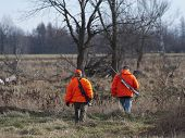 stock photo of hunter  - A pair of Deer hunters in Minnesota - JPG
