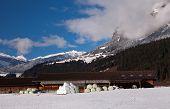 Hay Bales, Swiss Alps at Trin Mulin