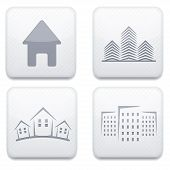 Vector white real estate app icon set. Eps10