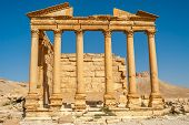 stock photo of zenobia  - Ancient ruins of funerary temple in Palmyra complex  - JPG