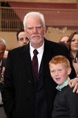 Malcolm McDowell and son Beckett at the Malcolm McDowell Star on the Hollywood Walk of Fame, Hollywood, CA 03-16-12