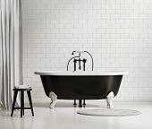Black and white classic bathtub with sstool and rug