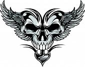 picture of apparel  - vector illustration skull and wings ideal for tattoo and apparel printing - JPG