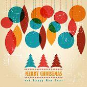 Retro Christmas card with christmas symbols