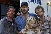 Ryan Honey, Denny Kirkwood, Michael Biehn and Jennifer Blanc  On the Set of