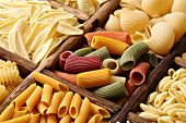 stock photo of pene  - Various type of pasta - JPG