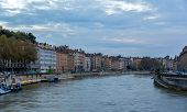 Lyon City On Banks Of Saone River - France