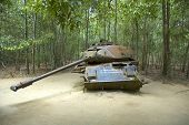 American Tank Destroyed By Viet Congs