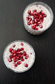 Chia Seeds Pudding with Pomegranate Seeds
