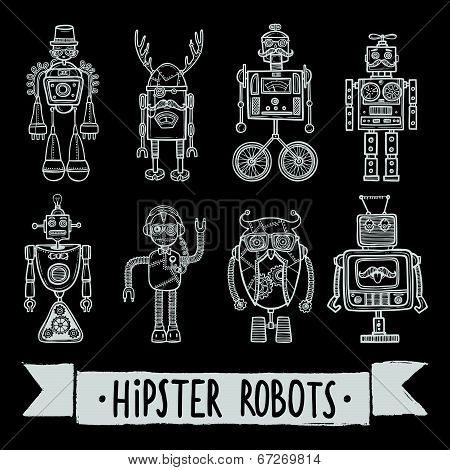 poster of Hipster robot set