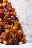 Chili Con Carne And Rice Macro Vertical Top View
