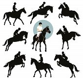 pic of horse-riders  - Horse and rider jumping vector silhouettes set - JPG