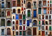 Collection of weathered doors in the old town of Chania, Crete island