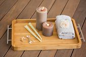 image of ear candle  - Tray of ear candling equipment at the spa - JPG