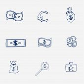 Money icons set doodle sketch hand draw. Finanse investment business credit bank elements