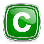copyright glossy computer icon on white background