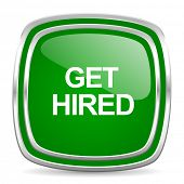 get hired glossy computer icon on white background